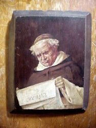 19th Century Italian Painting On Wood Panel Of Monk Reading Newspaper Signed Ae
