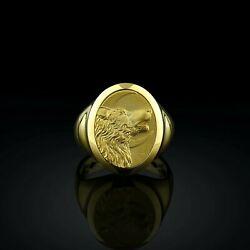 14k Yellow Gold Howling Wolf Handmade Oval Signet Menand039s Ring Boho Gift For Him