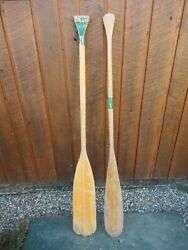 Old Set 2 Odd Different Oars 54 Long Boat Wooden Paddles Great Patina