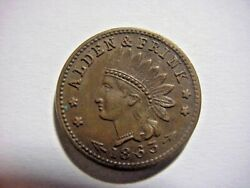 Alden And Frink Cohoes Ny 1863 40 Indian Head Civil War Token Ungraded Unc