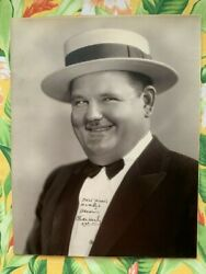 Oliver Hardy Autograph Rare Vintage Signed 10 1/2 X 13 1/2 Laurel And Hardy