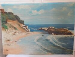Thee Landscape Edge Sea Oil On Canvas French School 20th