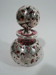 Gorham Cologne - S682 - Perfume Bottle - American Red Glass Silver Overlay