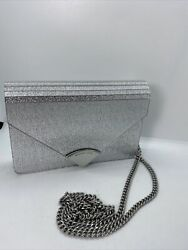MICHAEL Kors Barbara Medium Envelope Glitter Silver Clutch Evening Bag Purse $79.99