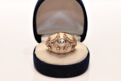 Antique Style New Made Enamel 14k Gold Natural Rose Cut Diamond And Diamond Ring