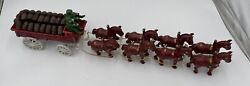 Vintage Cast Iron Beer Wagon With 8 Clydesdale Horses Dog And 26 Wood Barrels