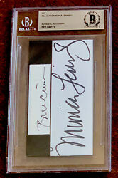 President Bill Clinton And Monica Lewinsky Signed Authentic Beckett Bas Slabbed