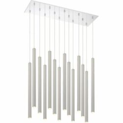 Z-lite Forest 14 Light Steel Led Island Pendant In Brushed Nickel And Chrome