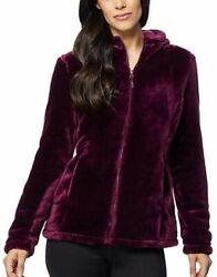 32 Degrees Women Hooded Plush Faux Fur Fleece Jacket, Bch Plum, Small. Pre-owned