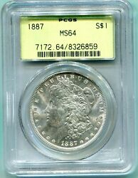 1887 1887-p Morgan Silver Dollar S1 Pcgs Ms64 Old Green Holder Ogh O.g.h.
