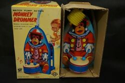 Monkey Drummer Tin Toy Water Pump Action Made In Japan Vintage Stock Showa Retro