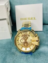 Diesel Mega Chief Dz4360 Gold / Champagne Chronograph Dial Menand039s Watch With Tags