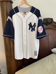 Alex Rodriguez Button Down White And Blue Throwback Majestic Jersey Sz Xl