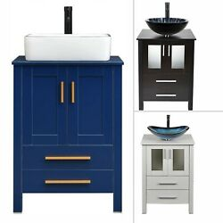24and039and039 Bathroom Wood Vanity Stand Pedestal Cabinet 2 Drawers Glass Sink Faucet Set