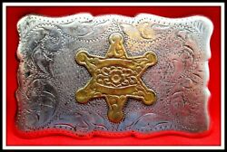 Vintage Quality Solid Sterling Silver Frontier Law Man Badge Belt Buckle