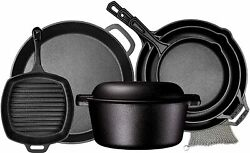 Camp Cookware 8 Piece Pre Seasoned Cast Iron Camp Fire Stove Grill Ultimate Gift