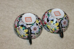 Pair Of Antique Chinese Hundred Flower Thin Porcelain Teacups 3-7/8dx2h Marked