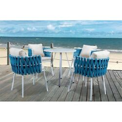 Leisuremod Spencer Modern 5 Pc Cast Iron Rope Outdoor Patio Dining Set In Blue