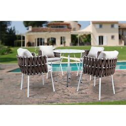 Leisuremod Spencer Modern 5 Pc Cast Iron Rope Outdoor Patio Dining Set In Brown