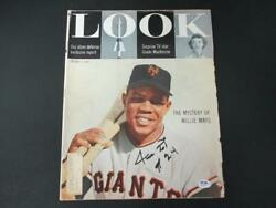 Willie Mays Signed 5/3/55 Look Magazine Autograph Auto Psa/dna Ah44231