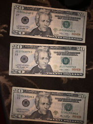 3 20 Bills Right Seal Off Center Very Good Condition 1 Has An Ink Error 209