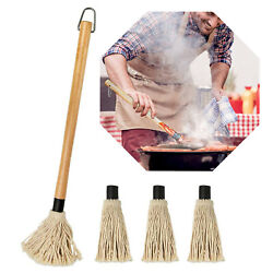 18 Inch Grill Basting Mop Wooden Long Handle With 3 Extra Replacement Head Bbq