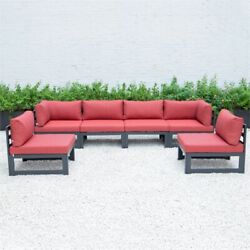 Leisuremod Chelsea 6-piece Sectional With Cushions In Red