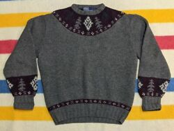 Vtg 90s Polo Tree And Ski Hand Knit Wool Nordic Christmas Sweater Xl