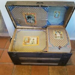 Vintage Dome Top Steamer Travel Trunk With Oak Straps Metal Clad Embossed