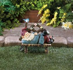SOLAR OUTDOOR GNOME BENCH WELCOME OUTDOOR STATUE LANTERN LED PATH LIGHT LAMP