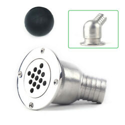 Stainless Steel Boat Deck Drain Scupper Tube With Ball For Hose 1-1/2 Yacht