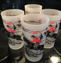 Vintage Mid Century Fox Hunt Frosted Glasses