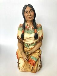 """Vintage 1985 Native American Indian Woman By Universal Statuary Corp 1985, 12"""""""