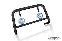 To Fit Volkswagen Caddy 10-15 Bull Bar Abar Black Stainless Bumper Guard + Spots