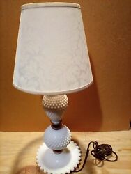 White Hotmail Milk Glass Table / Bedside Shade Is Damaged Read Description