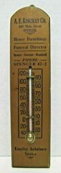 Kingsley Ambulance Funeral Director Furnishings Old Advertising Thermometer Sign