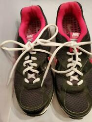 Preowned Nike Maxair Ladies/womens Tennis Shoes Size 8 Black With Hot Pink Trim