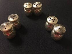3 Sets Of Vintage Sterling Silver Miniature Salt And Pepper Shakers