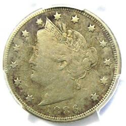 1886 Liberty Nickel 5c - Pcgs Fine Details - Rare Key Date Certified Coin