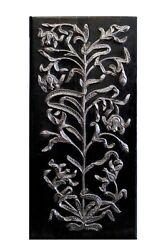 Vintage Handcrafted Wall Decorative Panel Hanging Wood Silver Hand Carved Home
