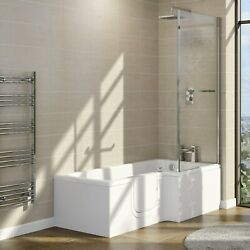 L Shaped Left Hand Walk In Bath And Shower With Screen 1700mm - Yale