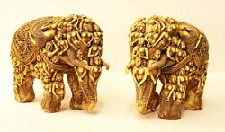 Vintage Elephant Statue Pair Resin Beautifully Angles Design Indian Decorative