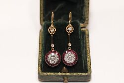 Antique Art Deco New Made 14k Gold Natural Diamond And Ruby Decorated Earring