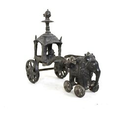 Vintage Elephant Statue Solid Brass Chariot Rider Beautiful Home Decorative Gift
