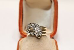 Antique Style New Made 18k Gold Natural Diamond And Ruby Decorated Snake Ring