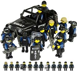 SWAT Military Lego Black Jeep Teams Figure Set City Police Weapon Block for LEGO