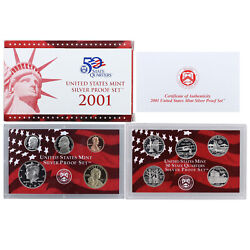 2001 S Proof Set Original Box And Coa 10 Coins 90 Silver Quarters Kennedy Us Mint