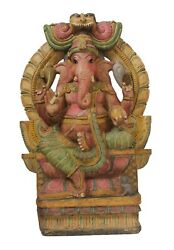 Handcrafted Lord Ganesha Statue Wood Hand Carved Hindu Religion South Indian