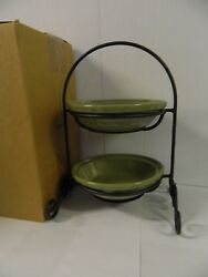 Longaberger Wrought Iron Small Two Pie Server With Sage Pottery Pie Plates