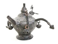 Vintage Oil Lamp Pot Solid Brass Indian Handcrafted Rare Tribal Decorative Gifts